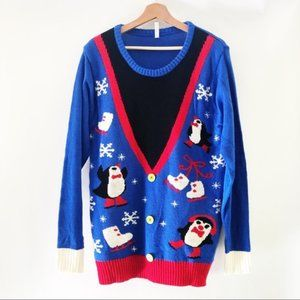 Amscan [XL] Blue Penguin Ugly Christmas Sweater